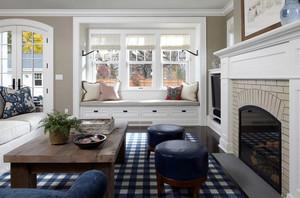 现代美式别墅客厅飘窗装修设计效果图
