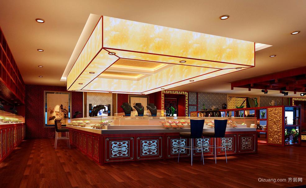 中式大型金店产品展示柜台装修效果图
