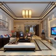 2016现代精致大户型中式客厅装修效果图实例