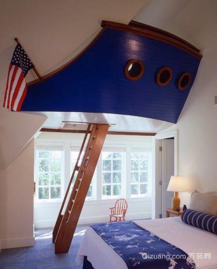 地中海风格蓝白色阁楼卧室装修效果图
