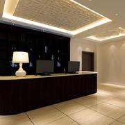 现代简约小型宾馆吧台装修效果图