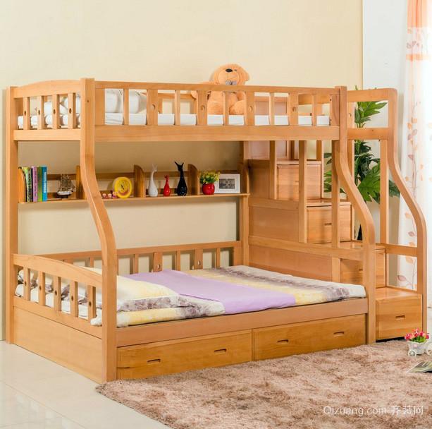 田园小型儿童房实木高低床装修效果图片