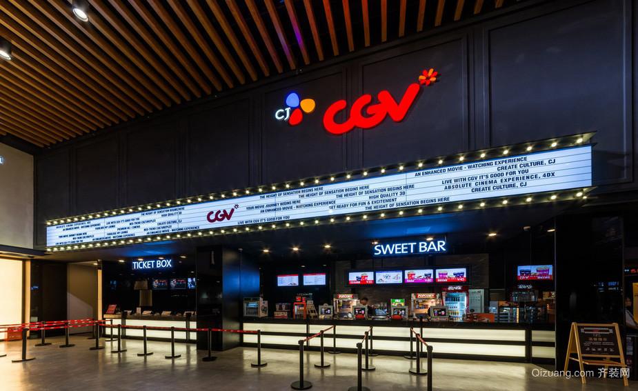 都市大型影院大堂吧台装修效果图