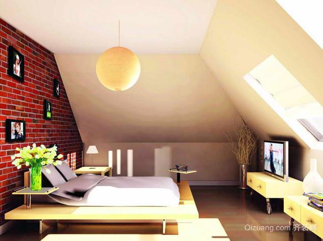 50平米日式简约斜顶阁楼卧室装修效果图