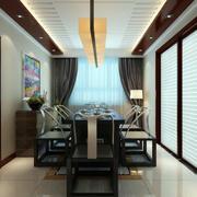 新中式家庭餐厅实木餐桌椅装修效果图