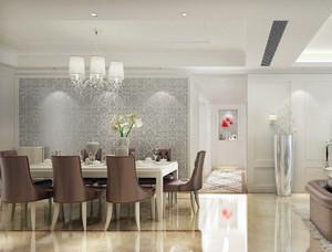简欧三室一厅家庭餐厅实木餐桌椅效果图