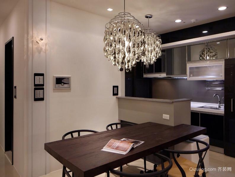 都市小家庭餐厅实木餐桌椅装修效果图