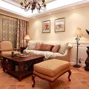 90平米美式风格客厅实木家具装修效果图