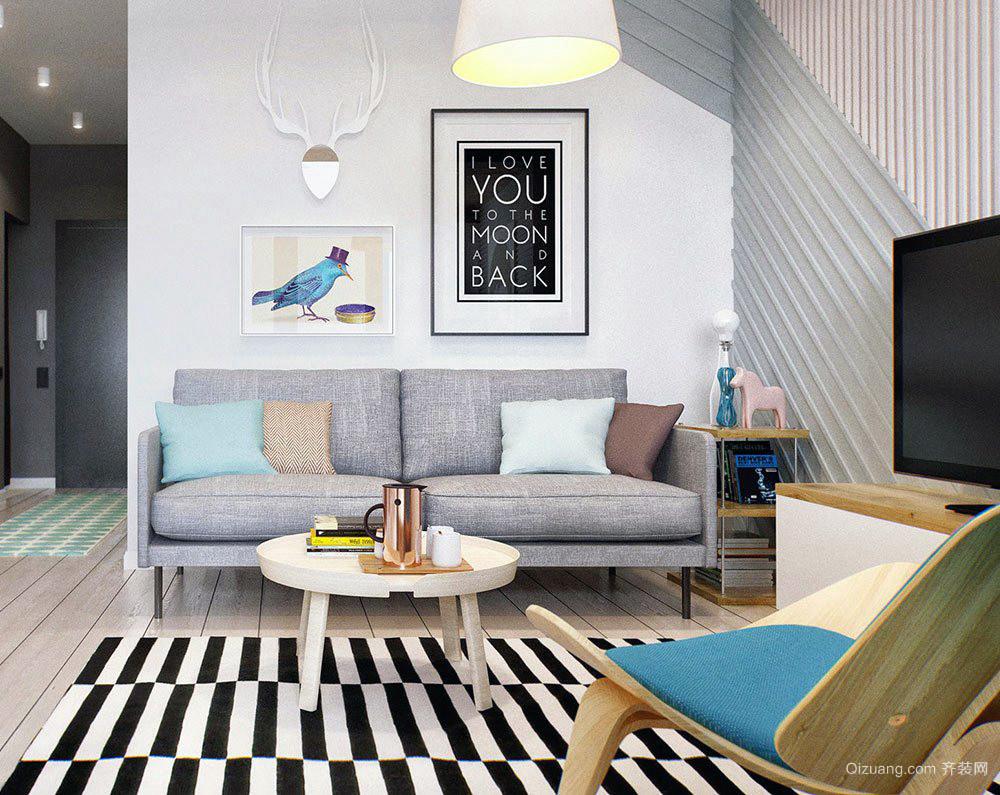 韩式现代清新2层海景别墅客厅设计效果图