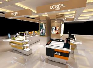 时尚化妆品店产品展示柜台装修效果图