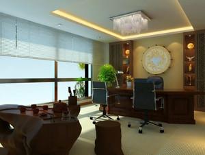 大型中式深色系原木办公室装修效果图