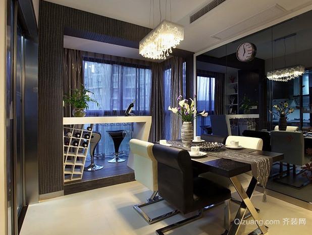 复式楼后现代风格精致餐厅吧台装修效果图
