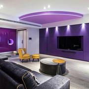 公寓客厅紫色电视背景墙