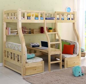 简约田园儿童房实木高低床装修效果图片