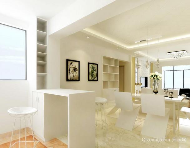 两室一厅现代简约风格客厅吧台装修效果图