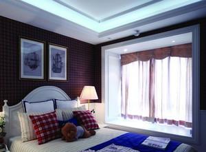 大户型欧式简约风格卧室窗帘装修效果图