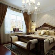 别墅欧式奢华深色卧室窗帘装修效果图