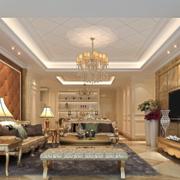 90平米大户型现代欧式客厅装修效果图欣赏