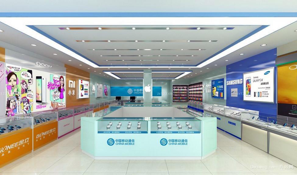 大型手机专卖店产品展示柜台装修效果图