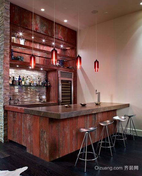 美式简约原木酒吧吧台装修效果图
