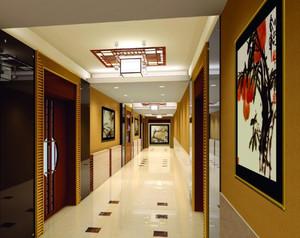 大户型中式典雅宾馆走廊装修效果图