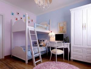 简欧150平米三居室儿童房高低床效果图片
