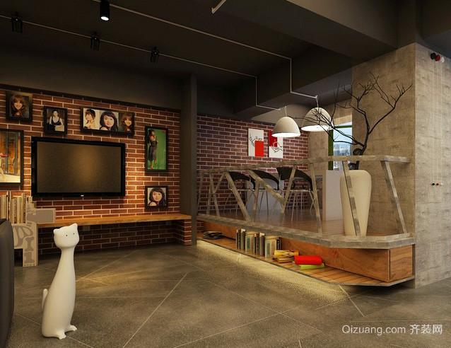 loft公寓深色系创意客厅电视背景墙装修图