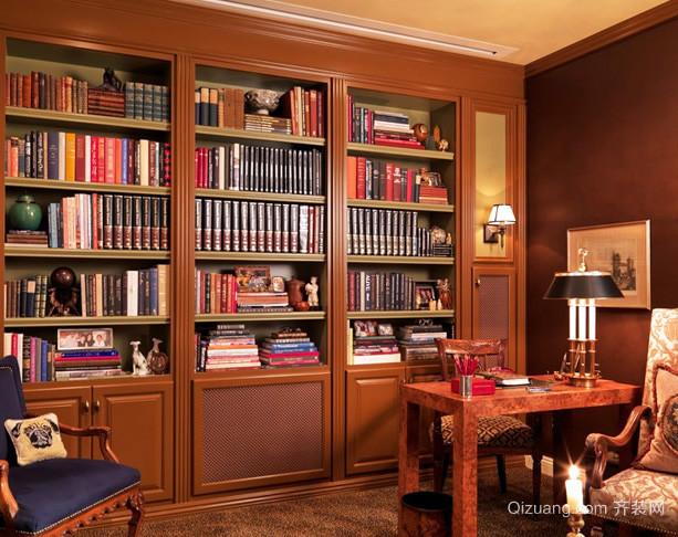 大型美式风格别墅书房办公家具装修效果图