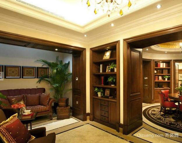 大户型美式简约风格书房实木办公家具装饰图