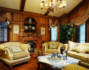大型别墅美式风格客厅雕刻实木家具装修效果图