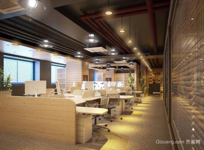 现代简约风格暖色系办公室装修效果图
