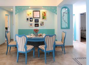 地中海90平米家庭餐厅实木餐桌椅效果图