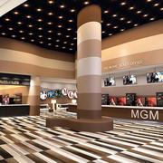 现代化咖啡色大型影院大厅装修效果图