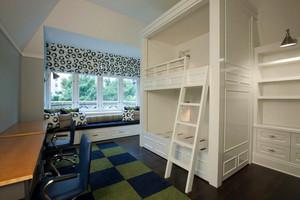 简约双胞胎儿童房飘窗装修设计效果图
