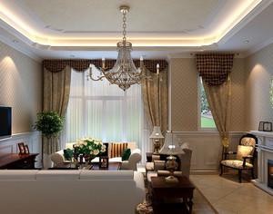 欧式简约复式楼客厅窗帘装修效果图
