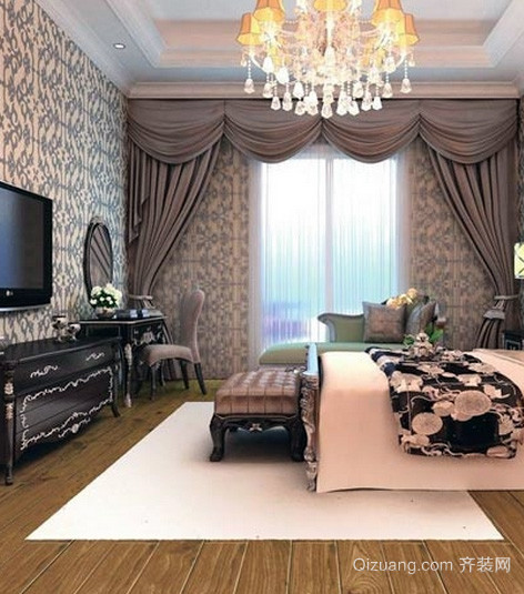 别墅欧式风格卧室实木复合地板装修效果图