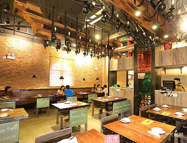80平米现代简约风格绿茶餐厅装修效果图