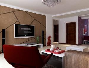 复式楼深色系后现代硅藻泥电视背景墙装饰图