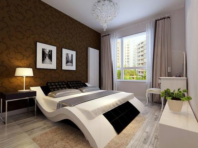 都市单身公寓卧室深色背景墙装修图
