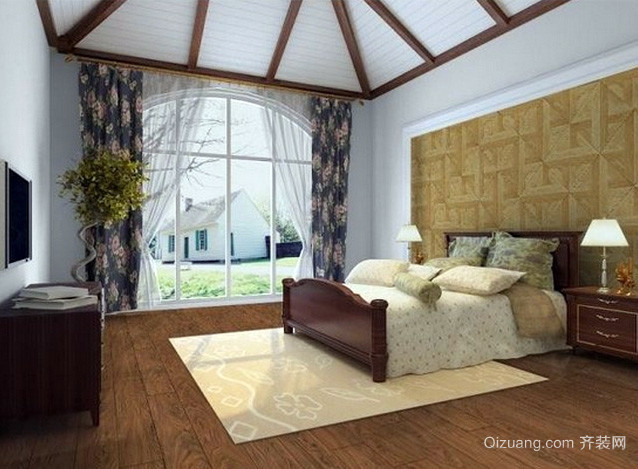 别墅30平米美式卧室实木复合地板装修图