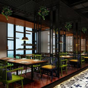90平米后现代风格深色系绿茶餐厅装修效果图