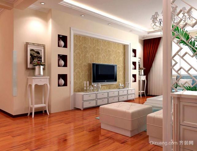 120平米复式楼客厅实木复合地板装修效果图