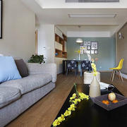 后现代风格简约客厅实木复合地板装修效果图