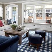 北欧风格清新客厅飘窗装饰