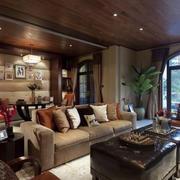 现代简约风格深色原木大型豪宅装修效果图