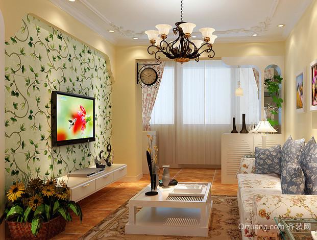 120平米复式楼韩式硅藻泥电视背景墙装饰图
