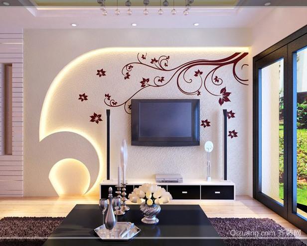 现代简约风格阳光房客厅电视背景墙装修图