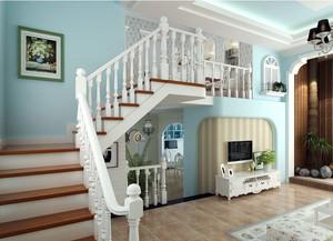 田园大户型跃层实木楼梯装修设计效果图