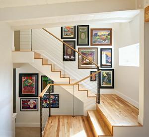 2015跃层住宅楼梯照片墙设计效果图
