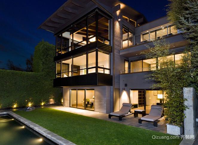 大型后现代风格三层豪宅装修外观图